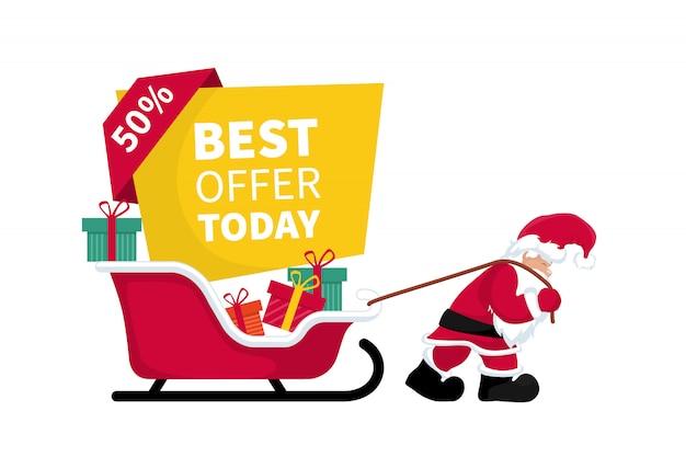 Weihnachtsmann zieht schlitten mit rabattkarte und förderung