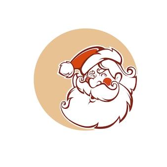 Weihnachtsmannbild im karikaturstil. illustration zur begrüßung der weihnachtskarte.