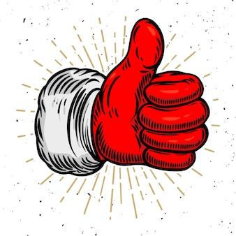 Weihnachtsmannhand mit ähnlichem zeichen. element für plakat, banner, grußkarte. illustration