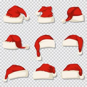 Weihnachtsmannhut stellte auf einen transparenten hintergrund ein. karikaturikonen der dekorativen weihnachtselemente.