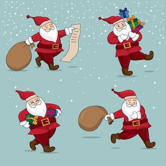 Weihnachtsmannillustration verziert mit schneefallhintergrund.