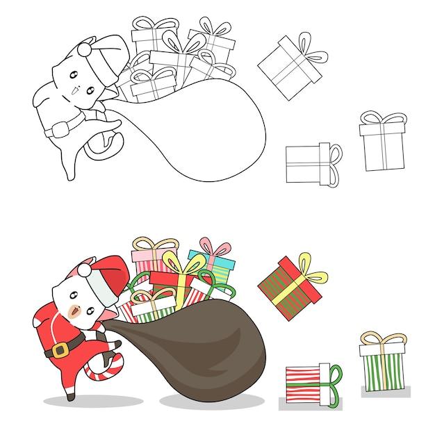 Weihnachtsmannkatze mit geschenkkarikaturmalvorlage für kinder