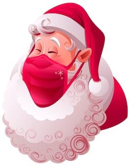 Weihnachtsmannkopf im medizinischen maskenschutz vor covid