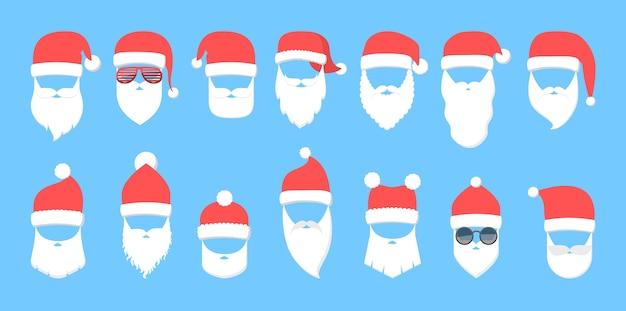 Weihnachtsmannmaske mit rotem hut und weißem bart gesetzt. sammlung von weihnachtspartymasken. element des weihnachtskostüms. flache vektorillustration