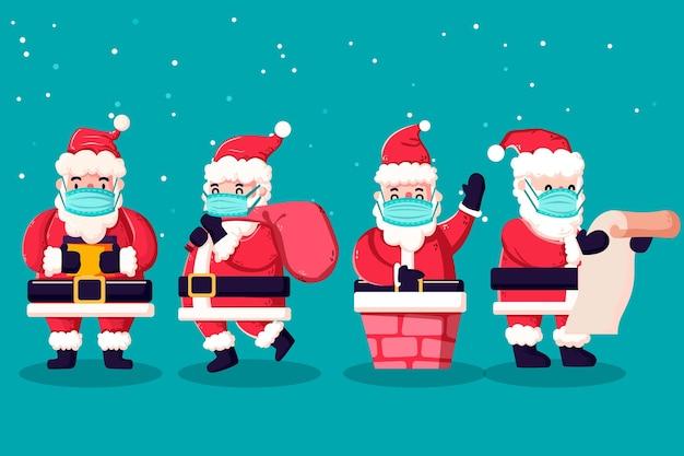 Weihnachtsmannpackung mit medizinischer maske