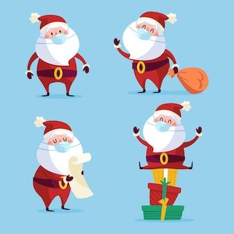 Weihnachtsmannsammlung, die gesichtsmaske trägt
