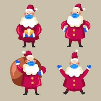 Weihnachtsmannsammlung, die medizinische maske trägt