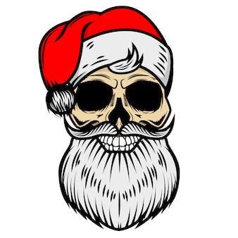 Weihnachtsmannschädel auf weißem hintergrund. element für logo, etikett, emblem, zeichen. illustration