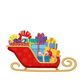 Weihnachtsmannschlitten mit geschenken