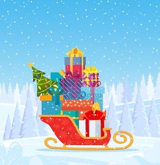 Weihnachtsmannschlitten mit weihnachtsgeschenken