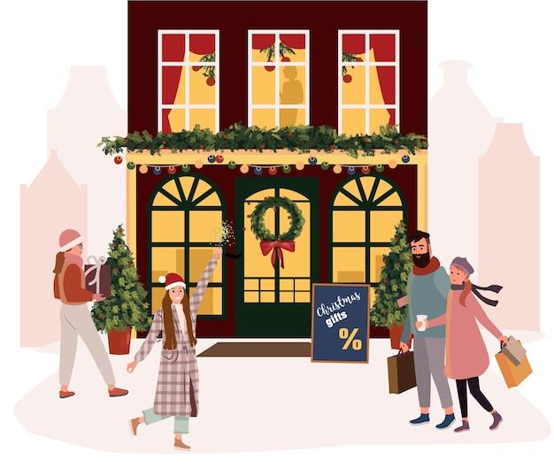 Weihnachtsmarkt leute, die glühwein trinken und familienruheillustration haben