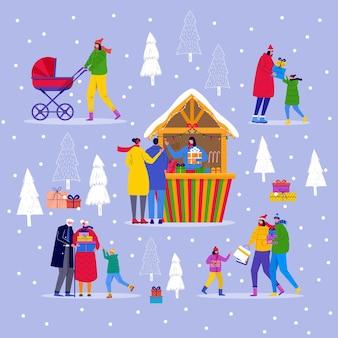 Weihnachtsmarkt mit menschen, die zwischen holzkiosken spazieren gehen und snacks, geschenke, dekoration kaufen. weihnachtsmarktplakat mit traditionellem winterbasar. vektorsammlung für einladungskarte, flyerdesign
