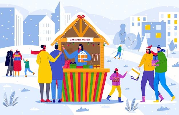 Weihnachtsmarkt mit menschen, die zwischen holzkiosken spazieren gehen und snacks, geschenke, dekoration kaufen. weihnachtsmarktplakat mit traditionellem winterbasar. vektorvorlage für postkarte, flyerdesign