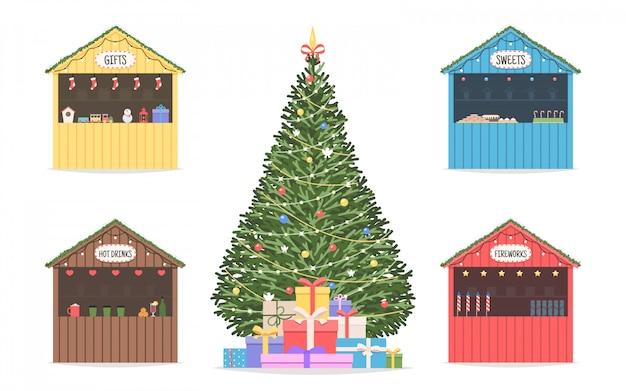 Weihnachtsmarkt reihe von geschäften