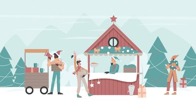 Weihnachtsmarkt urlaub outdoor messe mit shop marktplatz