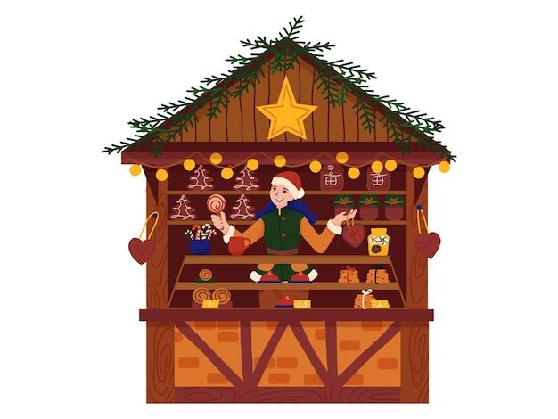 Weihnachtsmarkt, weihnachtseinkäufe, shop mit süßigkeiten und lebkuchen. urlaub mit glücklicher familie