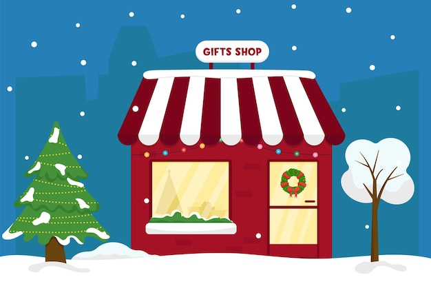 Weihnachtsmarkt. winter wunderland. süßer geschenkeladen