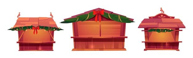 Weihnachtsmarktstände, hölzerne festivalkioske zum verkauf von lebensmitteln