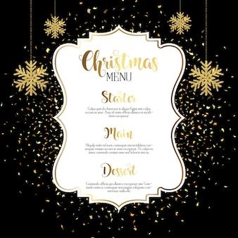 Weihnachtsmenü design mit gold konfetti