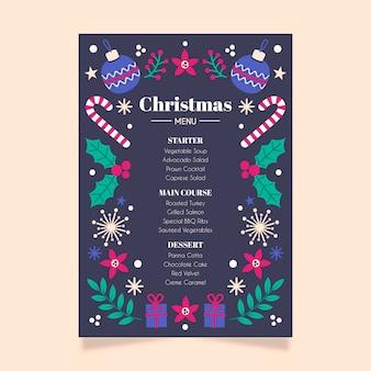Weihnachtsmenü flache design-vorlage