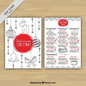 Weihnachtsmenü mit der hand gezeichneten elemente