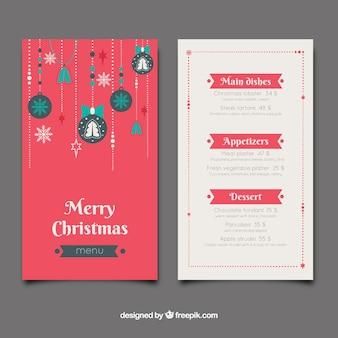 Weihnachtsmenü mit weihnachtskugeln