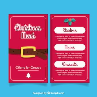 Weihnachtsmenü mit weihnachtsmann-gürtel