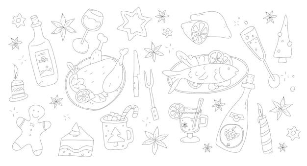 Weihnachtsmenü-set im doodle-stil weihnachtsabendessen und -getränke frohes weihnachtsessen weihnachtsfeier lecker