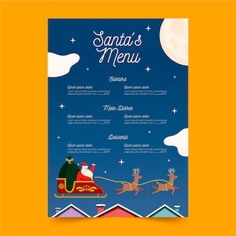 Weihnachtsmenüschablone im flachen design