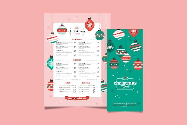 Weihnachtsmenüschablone im flachen design Kostenlosen Vektoren