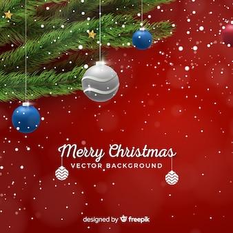 Weihnachtsmetallischer hängenden ballhintergrund