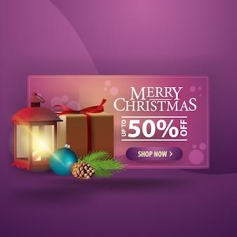 Weihnachtsmoderne fahne 3d mit geschenken und antiker lampe