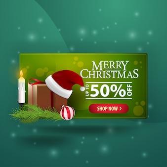 Weihnachtsmoderne fahne 3d mit geschenken und santa claus-hut