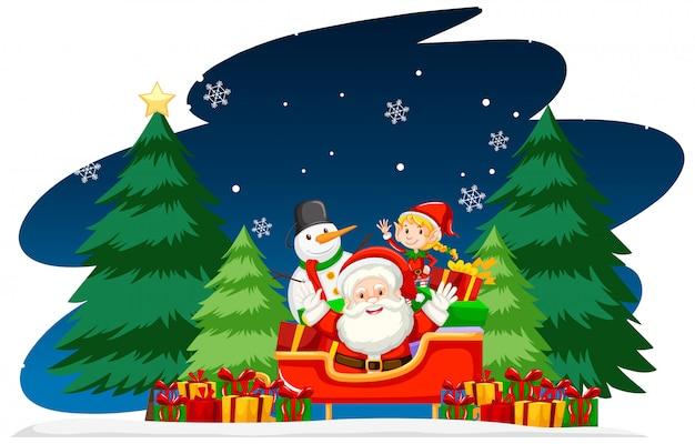 Weihnachtsmotiv mit santa in der nacht