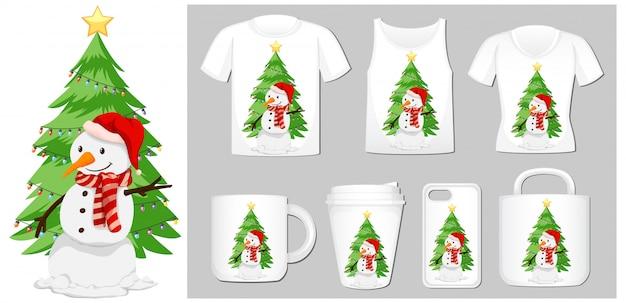 Weihnachtsmotiv mit schneemann auf produktvorlagen