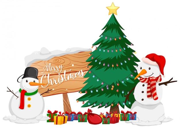 Weihnachtsmotiv mit schneemann und weihnachtsbaum