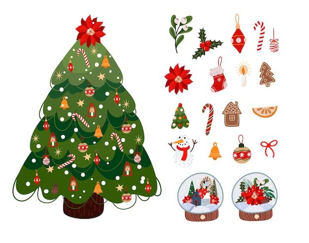 Weihnachtsmotivdekoration Premium Vektoren