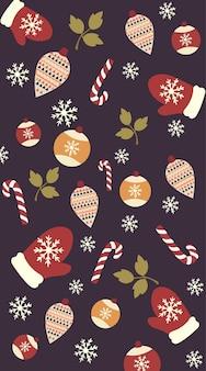 Weihnachtsmotivmuster von handschuhen, baumschmuck, zweigen mit blättern, schneeflocken und zuckerstangen. vektor