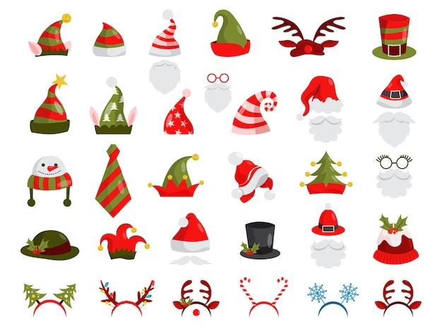 Weihnachtsmütze gesetzt. sammlung von weihnachtsmanndekoration für fotokabine. weihnachtsfeier-konzept. illustration