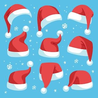 Weihnachtsmützen. rote weihnachtsmann-weihnachtsmütze gesetzt, feiertagsmaskeradekostümdekoration, lustige festliche kopfbedeckung der partei, niedliches isoliertes weihnachtsmützen-set der karikatur