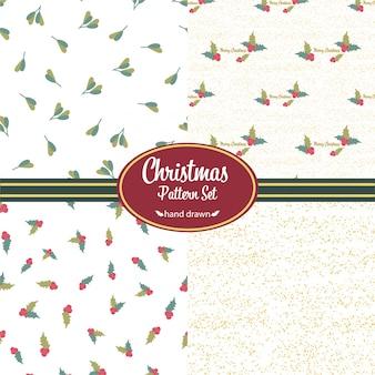 Weihnachtsmuster eingestellt. handgezeichnete kritzeleien. blumenmotive