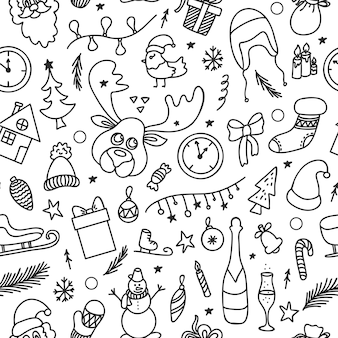 Weihnachtsmuster im doodle-stil mit festlichen dekorativen elementen und symbolen.