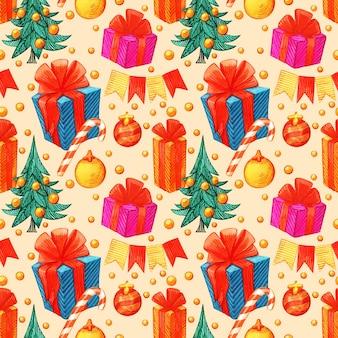 Weihnachtsmuster im retro-stil. winter endloser hintergrund. farbenfrohe illustrationen können für den druck auf papier und stoff verwendet werden. urlaub. thema neujahr. kranz, stechpalme und andere traditionelle symbole.