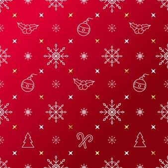 Weihnachtsmuster mit dekorativen lineart-symbolen