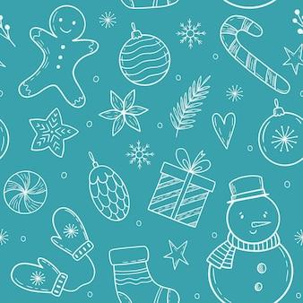 Weihnachtsmuster mit feiertagselementen gekritzel-weihnachtselemente winter handgezeichnete illustration