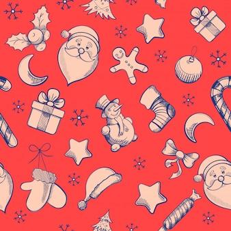 Weihnachtsmuster mit handzeichenelementen. winterferien dekoration.