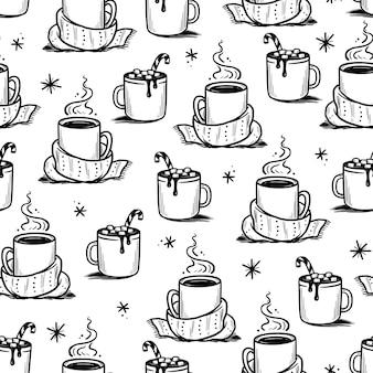 Weihnachtsmuster mit heißem getränk aus winterkaffee, tee, schokolade. handgezeichnete doodle-skizze-stil. trinkbecher, becher mit winterschal. vektor-illustration.