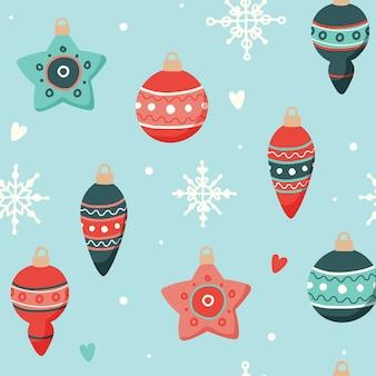 Weihnachtsmuster mit niedlichen dekorationen