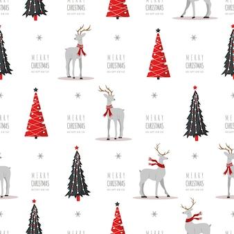 Weihnachtsmuster mit rentieren und bäumen. süße hirsche mit geweih und schals. winterdruck.