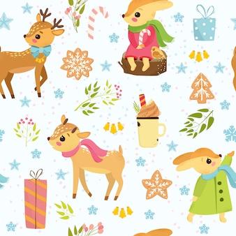 Weihnachtsmuster mit rotwild und hasen